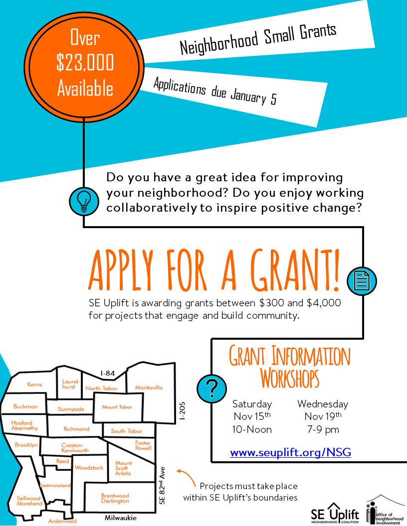 Neighborhood Small Grant Applications due January 5th!