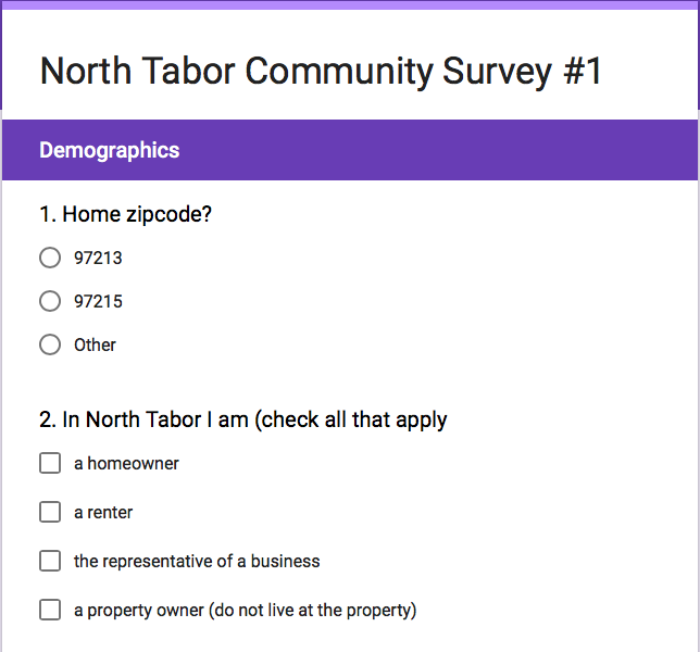 North Tabor Survey: Participants wanted