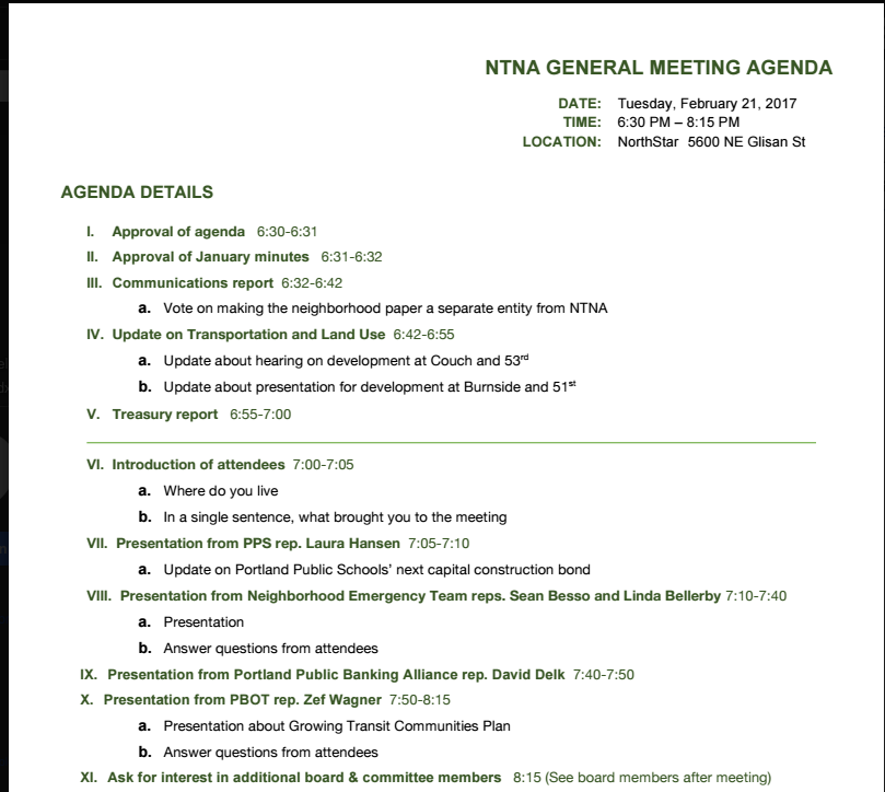 NTNA Monthly Meeting: Feb. 21 at 5600 NE Glisan
