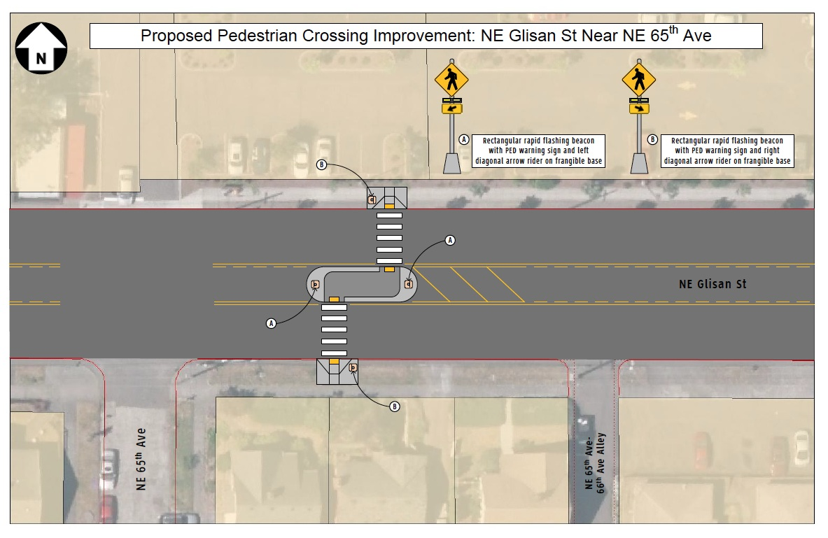 Pedestrian crossing at 65th and NE Glisan [updated 8/21]
