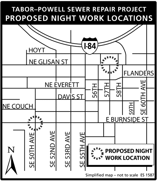 Night work (sewer) on Glisan and Burnside