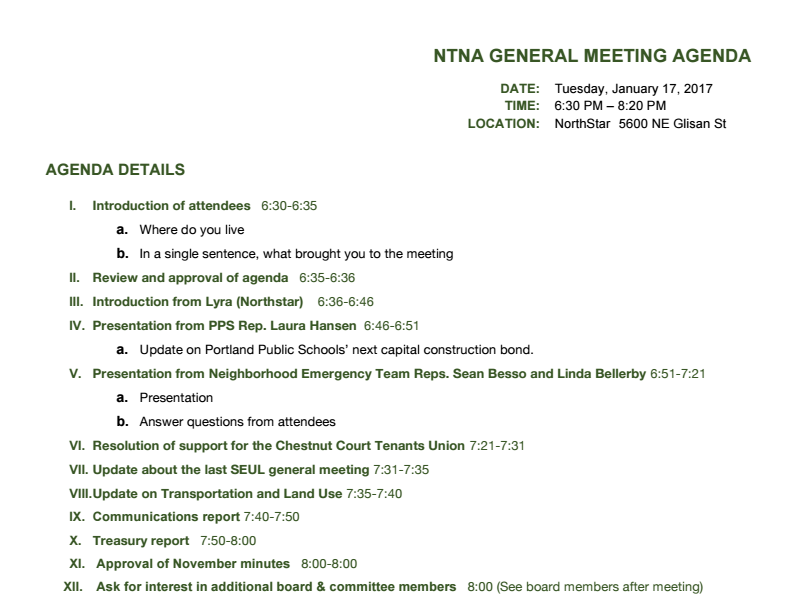 RESCHEDULED: NTNA January meeting moved to next Tuesday, Jan. 24