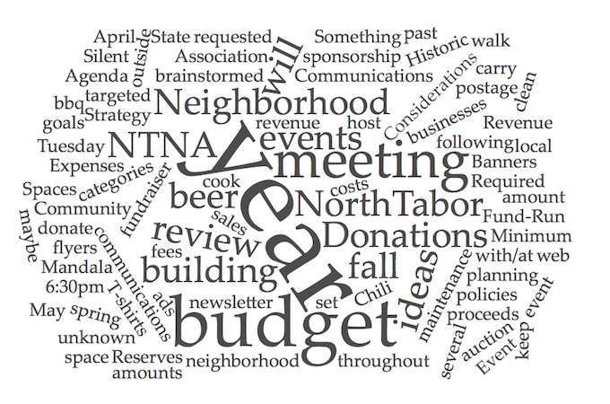 NTNA Budget planning meeting Tuesday May 29